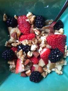 Ideal afternoon snack/lunch: Greek yogurt with berries, nuts, and granola